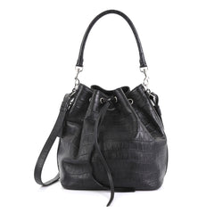 Saint Laurent Emmanuelle Bucket Bag Crocodile Embossed Leather Medium Black 441332