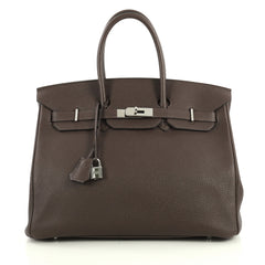 Hermes Birkin Handbag Brown Togo with Palladium Hardware 35 Brown 441471