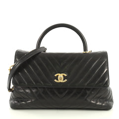 Chanel Coco Top Handle Bag Chevron Calfskin Large Black 441571