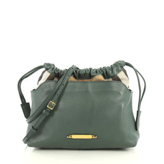 Burberry Little Crush Crossbody Bag Leather and House Check Canvas Green 441591