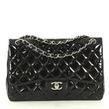 Chanel Classic Double Flap Bag Quilted Patent Jumbo Black 441611