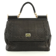 Dolce & Gabbana Miss Sicily Bag Woven Leather Large Black 441701