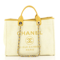Chanel Deauville Tote Raffia Large Yellow 441882