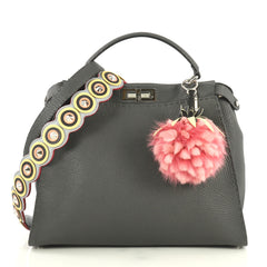Fendi Selleria Peekaboo Bag Grainy Leather Large Gray 441921