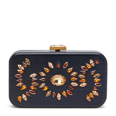 Devi Kroell Crystals Encrusted Wooden Clutch