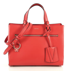 Versace DV One Tote Leather Medium Red 442001