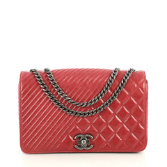 Chanel Coco Boy Flap Bag Quilted Aged Calfskin Medium Red 442021