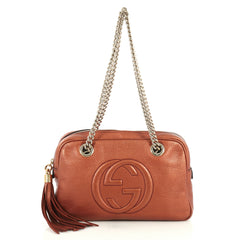 Gucci Soho Chain Zip Shoulder Bag Leather Small Orange 442022