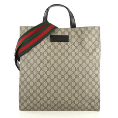 5c0ec70f7 Gucci Convertible Soft Open Tote GG Coated Canvas Tall Brown 442028