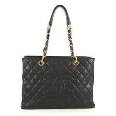 Chanel Grand Shopping Tote Quilted Caviar Black 442123