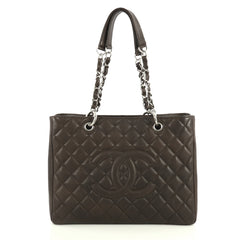 Chanel Grand Shopping Tote Quilted Caviar Brown 442212