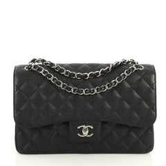 Chanel Classic Double Flap Bag Quilted Caviar Jumbo Black 442241