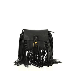Valentino C Rockee Fringe Shoulder Bag Leather Small Black 442261