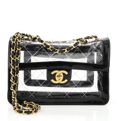 Chanel Vintage Naked Flap Bag Quilted PVC Maxi Black 4426014
