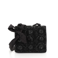 Chanel Vintage Evening Flap Bag Sequin Embellished Satin Mini Black 4426023