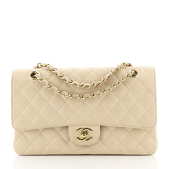 Chanel Vintage Classic Double Flap Bag Quilted Caviar Medium Neutral 4...
