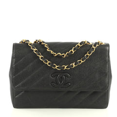 Chanel Vintage Covered CC Flap Bag Diagonal Quilted Caviar Jumbo Black...