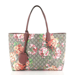 Gucci Reversible Tote Blooms GG Print Leather Medium Brown 4426029