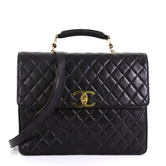 Chanel Vintage CC Convertible Briefcase Quilted Lambskin Large Black 442602
