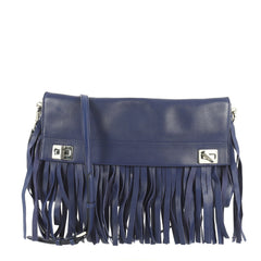 Prada Double Turn Lock Flap Bag Leather with Fringe Medium Blue 4426032