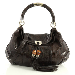 Gucci Indy Hobo Python Large Brown 4426036