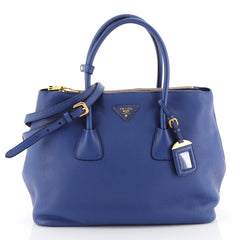 Prada Double Zip Convertible Tote Vitello Daino Large Blue 4426040