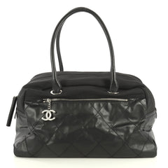 Chanel Biarritz Duffle Bag Quilted Coated Canvas Large Black 4426066