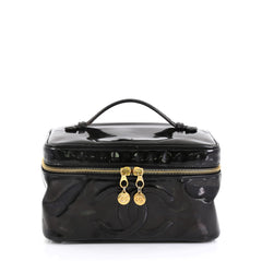 Chanel Vintage Timeless Cosmetic Case Patent Large Black 442662