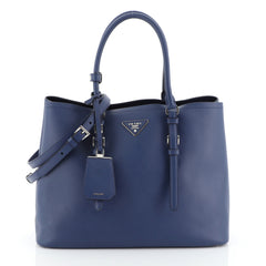 Prada Covered Strap Cuir Double Tote Saffiano Leather Medium