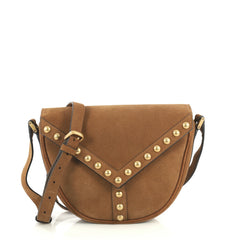 Saint Laurent Y Studs Crossbody Bag Suede Small Brown 442911