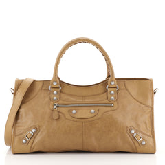 Balenciaga Part Time Giant Studs Bag Leather Brown 442941
