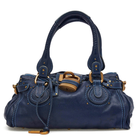cc127e8357e Buy Chloe Paddington Lock Handbag Leather Medium Blue 44314 – Rebag