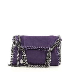 Stella McCartney Falabella Fold Over Crossbody Bag Shaggy Deer Mini Purple 4430412