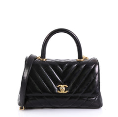 Chanel Coco Top Handle Bag Chevron Calfskin Mini Black 4430423