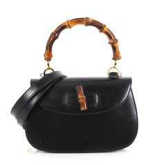 Gucci Vintage Bamboo Convertible Top Handle Bag Leather Medium Black 4430426