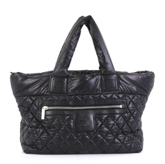 Chanel Coco Cocoon Zipped Tote Quilted Nylon Large Black 4430434