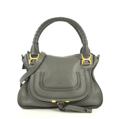 Chloe Marcie Satchel Leather Medium Gray 443043