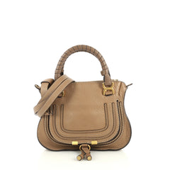Chloe Marcie Satchel Leather Baby Brown 443044