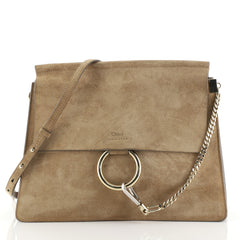 Chloe Faye Shoulder Bag Suede Medium Neutral 443053