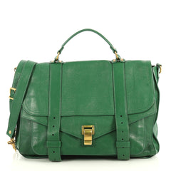 Proenza Schouler PS1 Satchel Leather Large Green 443054