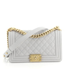 Chanel Boy Flap Bag Quilted Caviar Old Medium Gray 443101
