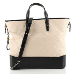Chanel Gabrielle Shopping Tote Quilted Calfskin Large Neutral 443141
