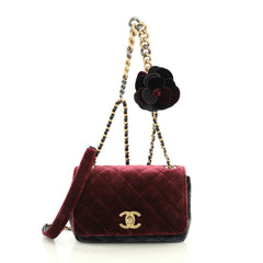 Chanel Private Affair Camellia Flap Bag Quilted Velvet Small Multi col...