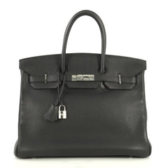 Hermes Birkin Handbag Black Clemence with Palladium Hardware 35 Black 4433210