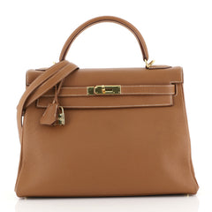 Hermes Kelly Handbag Brown Togo with Gold Hardware 32 Brown 4433220