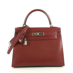 Hermes Kelly Handbag Red Box Calf with Palladium Hardware 28 Red 4433226