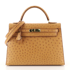 Hermes Kelly Handbag Brown Ostrich with Gold Hardware 32 Brown 4433228