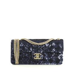 Chanel CC Flap Bag Sequins East West Blue 4433229