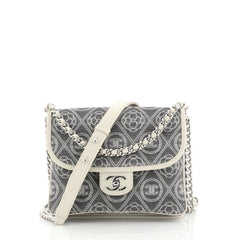 Chanel Camellia Double Side Flap Bag Quilted Printed Canvas Small Gray 443323