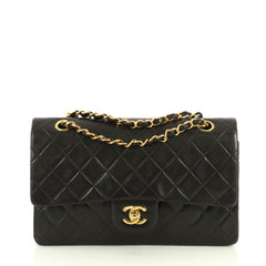 Chanel Vintage Classic Double Flap Bag Quilted Lambskin Medium Black 443324